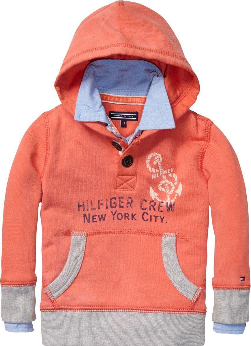 Boy`s hooded half button sweatshirt