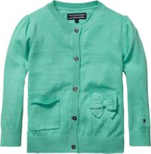 Girl`s basic bow mini cardigan