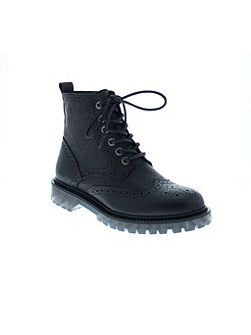 Bronx Leather lace up flat boot
