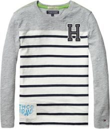 Boys combi stripe long sleeve t-shirt