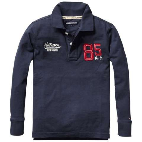 Boys badge polo long sleeve top
