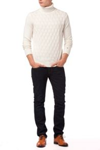 Lexie cable roll-neck jumper