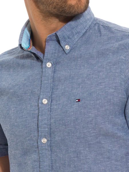 Tommy Hilfiger Plain Classic Fit Short Sleeve Button Down Shirt