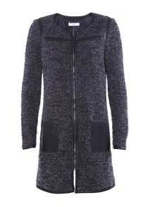 Aaiko knitted jacket with pu detail