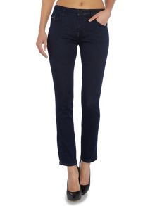 Mid rise slim jean in dark eighties blue stretch