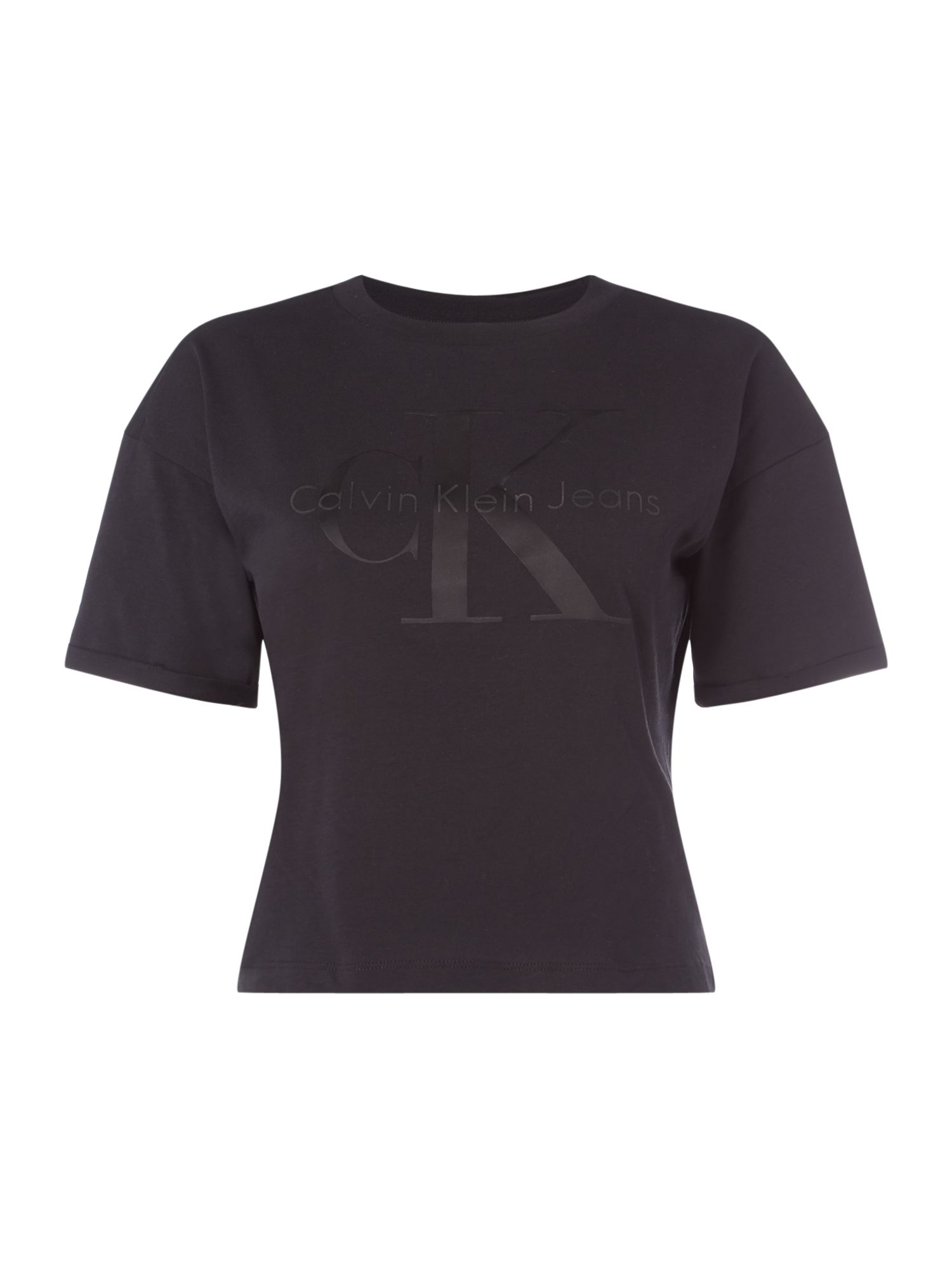 Calvin Klein Short Sleeves CK Logo Tee Shirt, Black