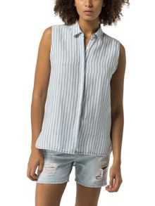 Tommy Hilfiger Stripe Linen Sleeveless Shirt