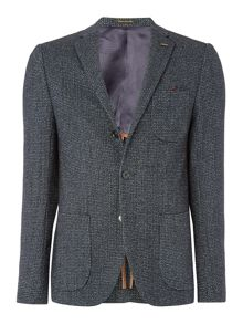 Woollen blazer with printed lining
