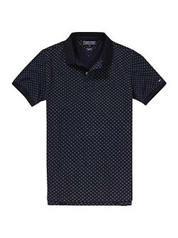 Dotted Print Polo Top