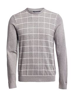 Windowpane Crew Neck Sweater