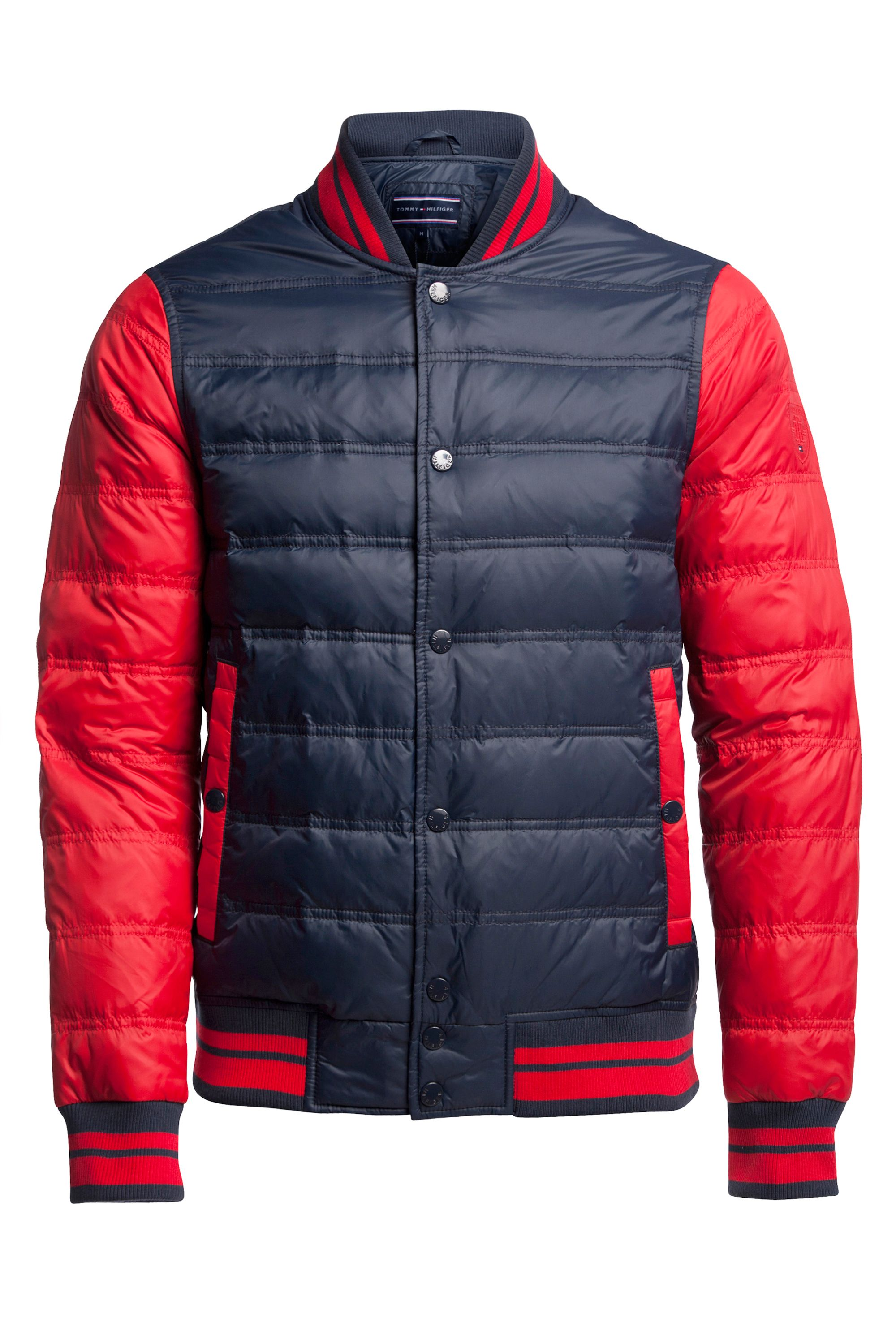 Mens Tommy Hilfiger Baseball Down Bomber Jacket Navy & Red