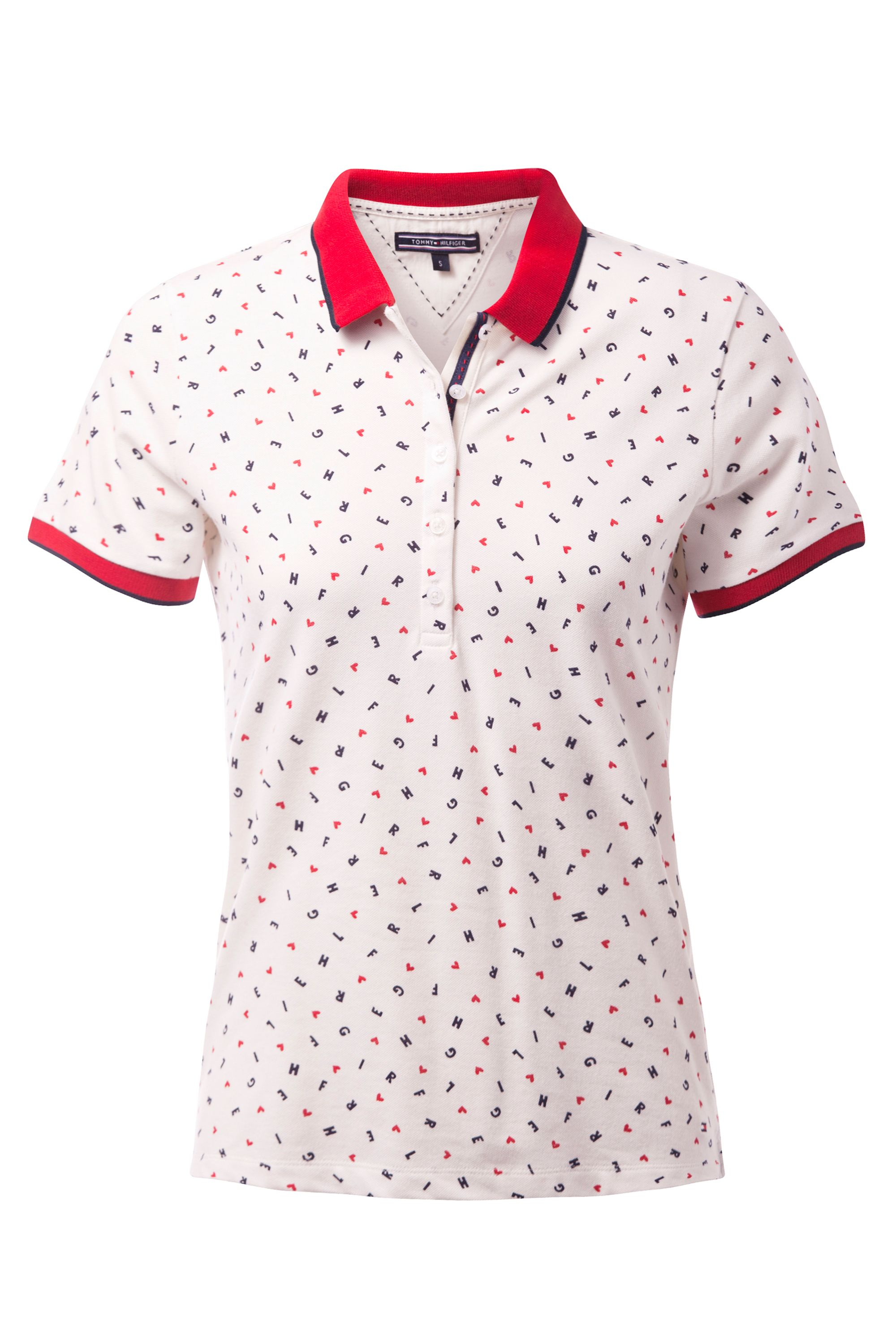Tommy Hilfiger Dinah Print Polo Top, White