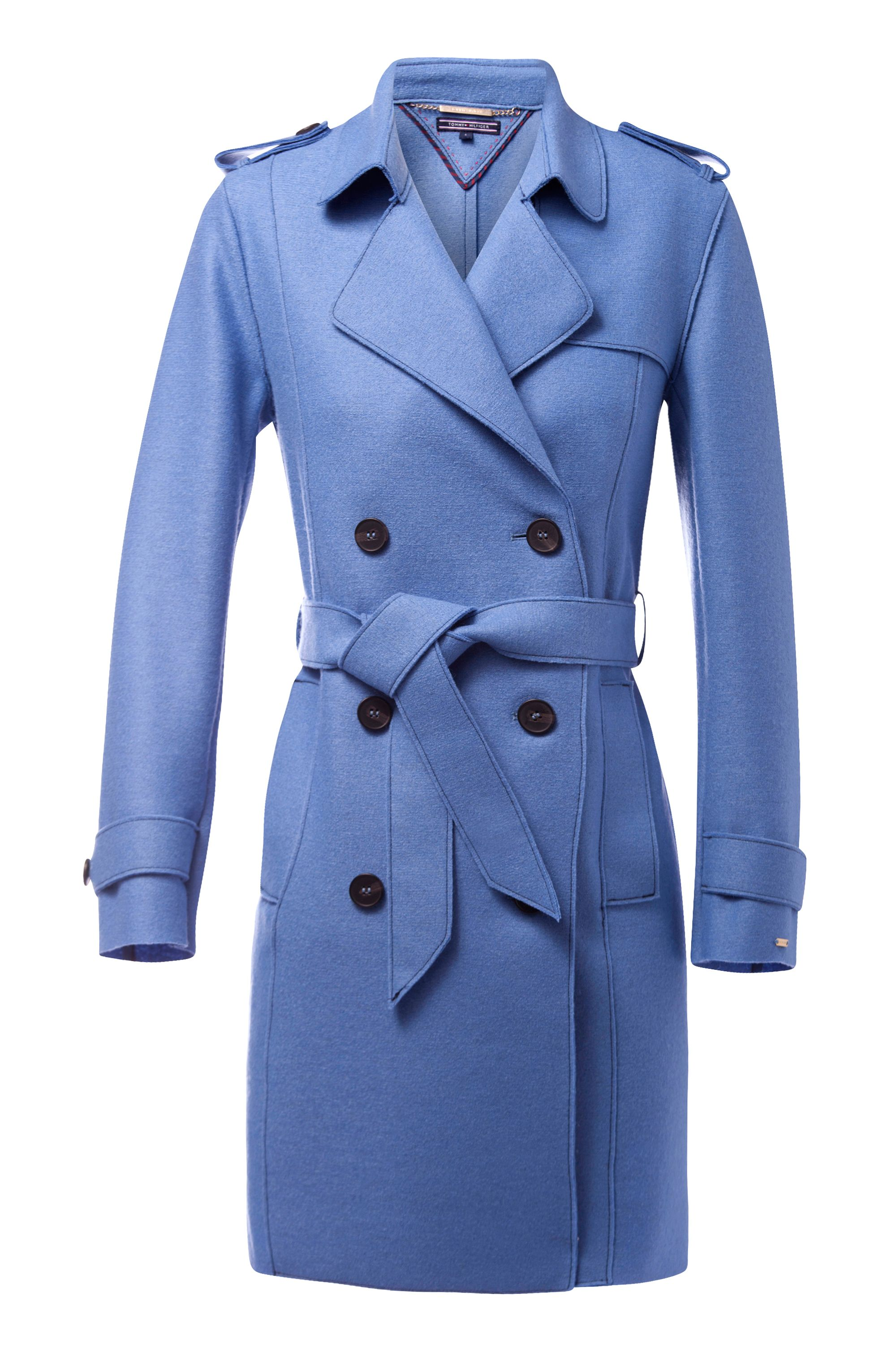 Tommy Hilfiger Beth Boiled Wool Trench Coat, Blue