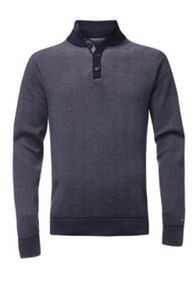 Tommy Hilfiger Birdseye jacquard button mock jumper