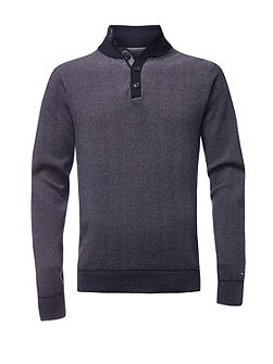 Birdseye jacquard button mock jumper