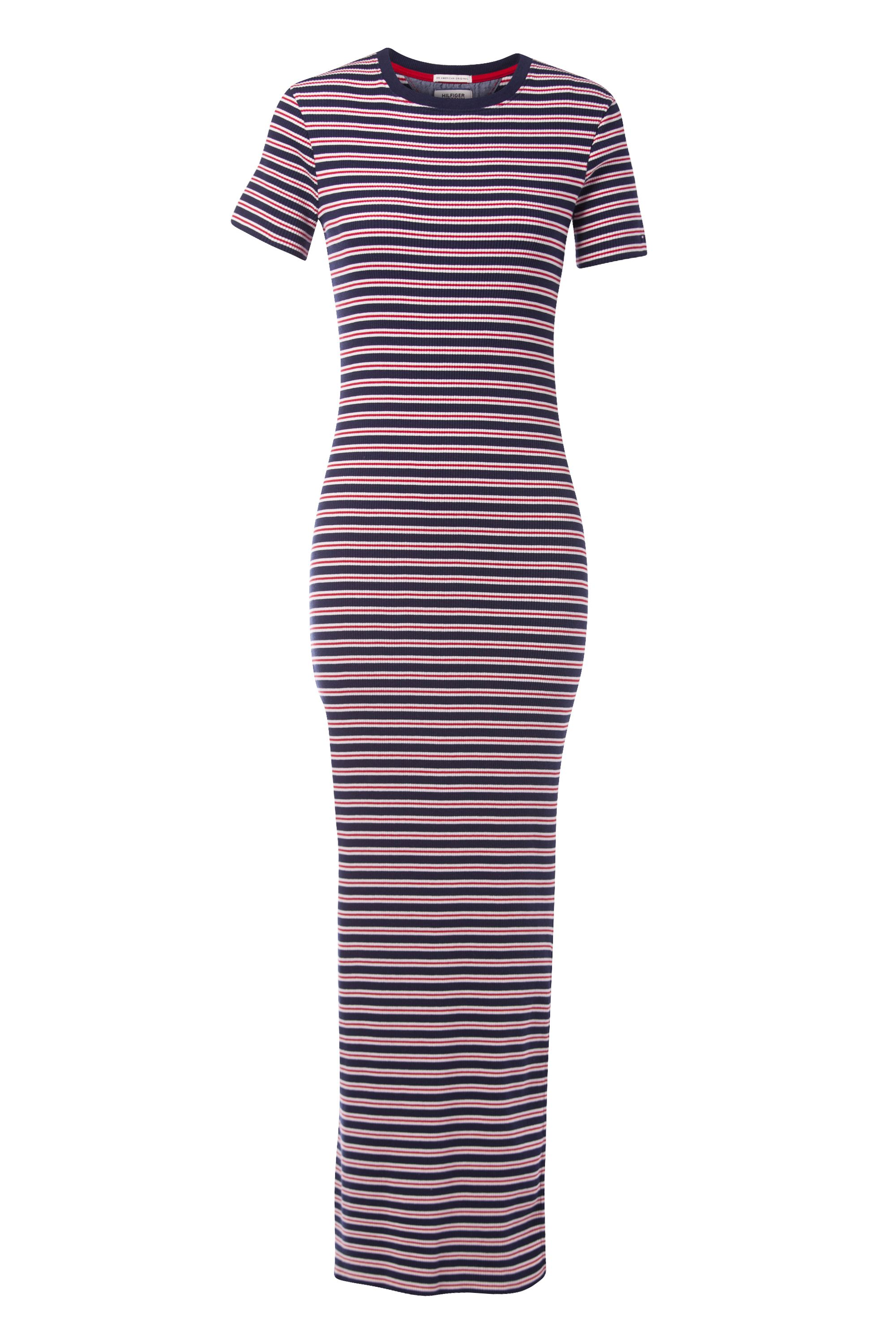 Tommy Hilfiger Fitted Stripe Maxi Dress, Blue