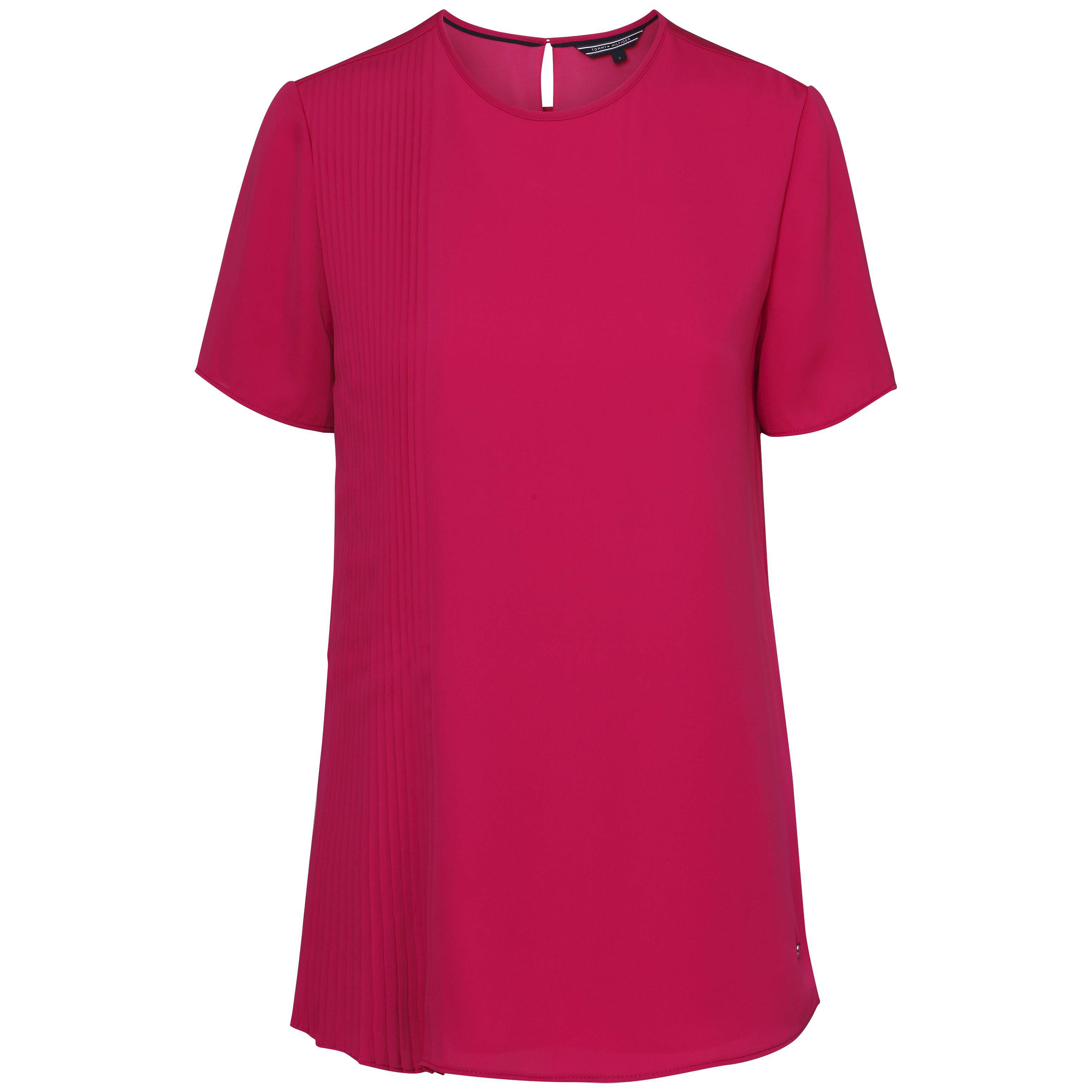 Tommy Hilfiger Nalise Pleated Short Sleeve Top, Pink