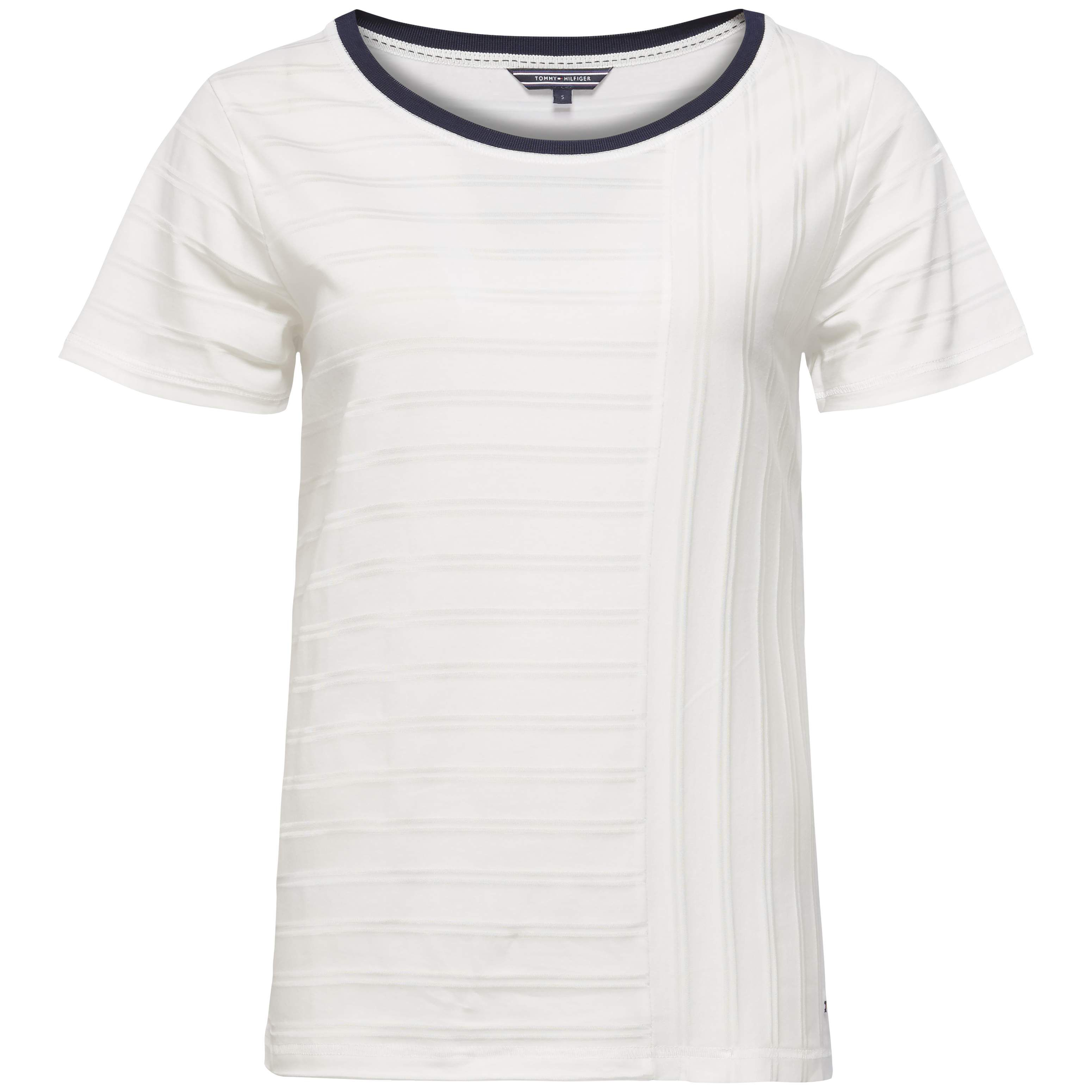 Tommy Hilfiger Rose Round-Neck Short Sleeve Top, White