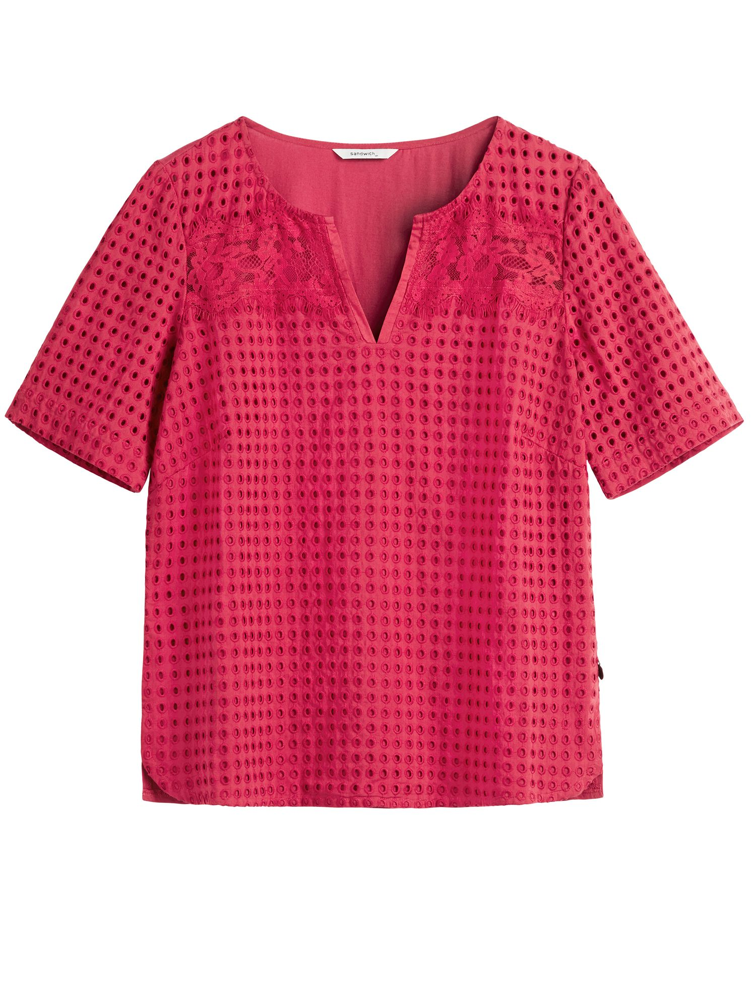 Sandwich Broderie Anglaise Top With Lace Detail, Red
