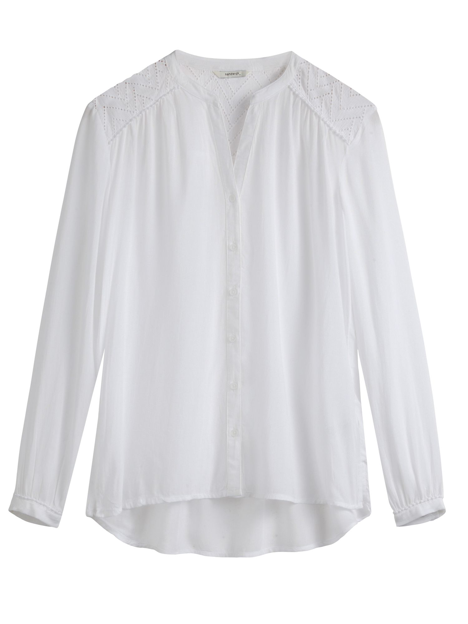 Sandwich Embroidered Detail Blouse, White