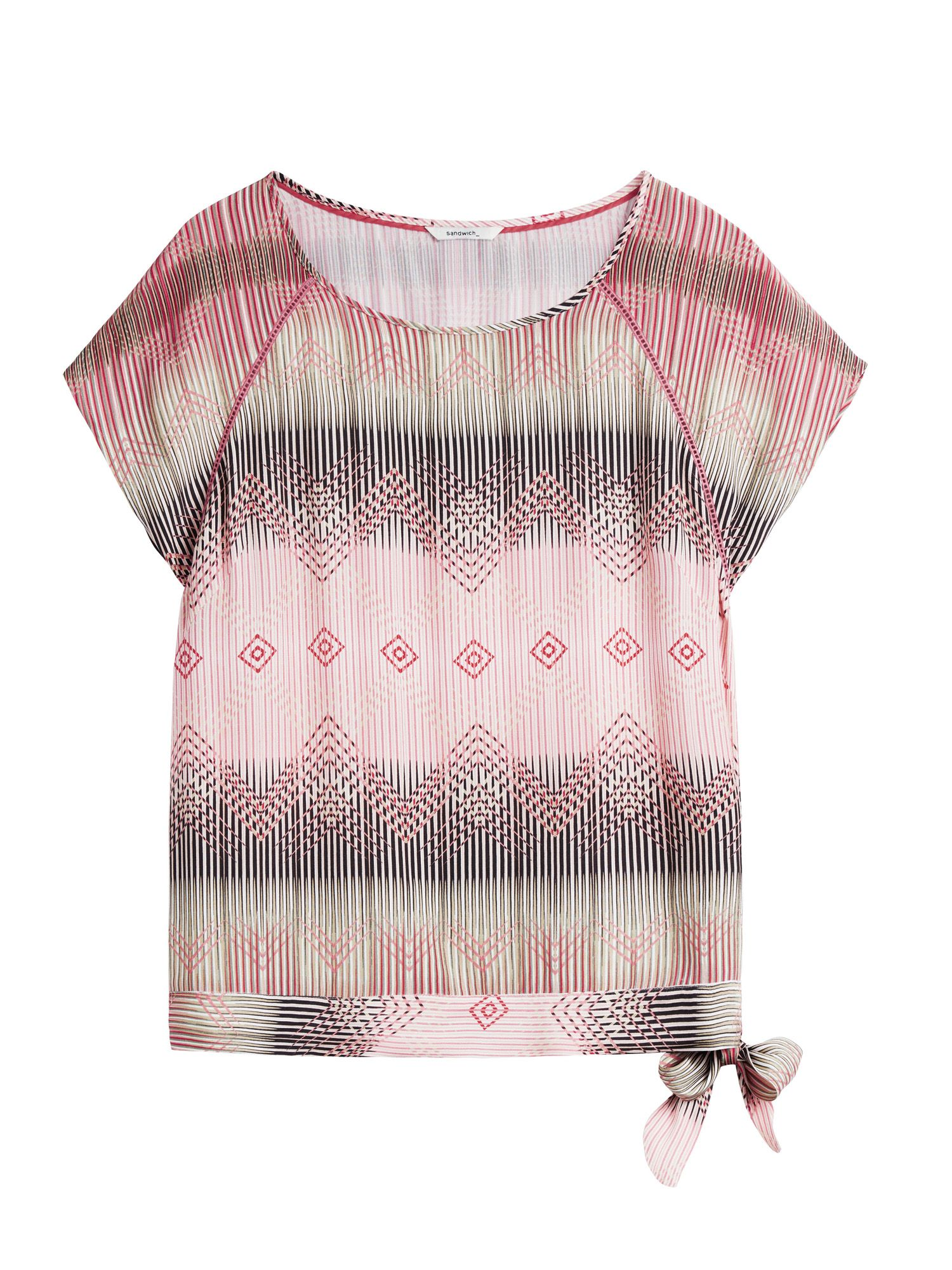 Sandwich Boho Print Top With Side Knot Detail, Pink