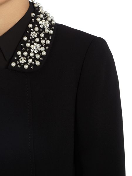 Tahari ASL Black Coat With Pearl Embellished Collar