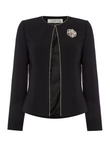 Tahari ASL Black Blazer with Gold Flower Broach