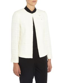 Tahari ASL White Blazer with 3 Flowered Broach