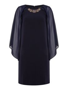 Tahari ASL Navy Embellished Shift Dress