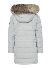 Girls Arctic Long Quilted Parka Faux Fur Hood