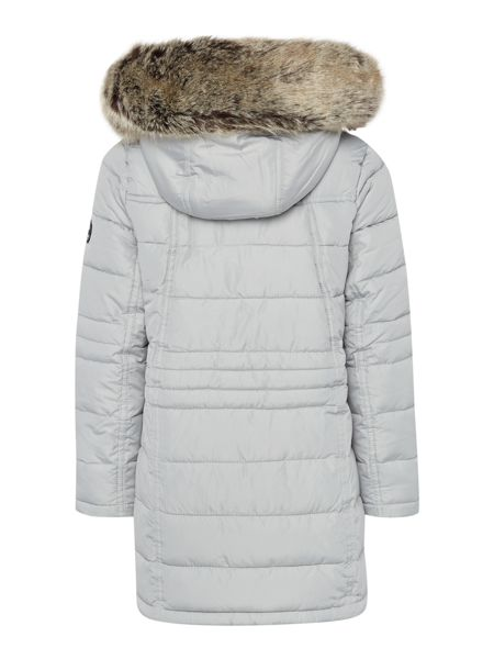 Barbour Girls Arctic Long Quilted Parka Faux Fur Hood