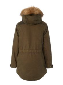 Barbour Boys Waxed Parka With Faux Fur Hood