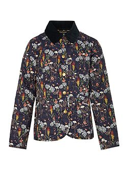 Girls floral quilted jacket with cord collar
