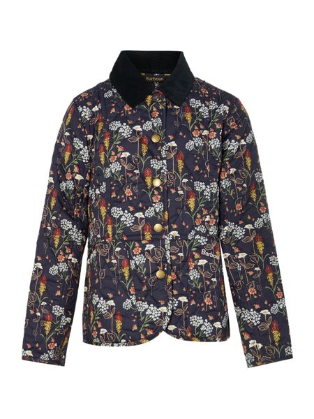 Barbour Girls floral quilted jacket with cord collar