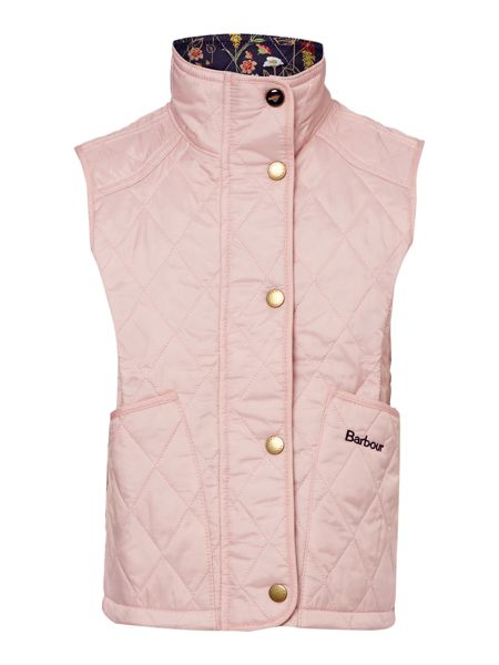 Barbour Girls quilted gilet with floral lining