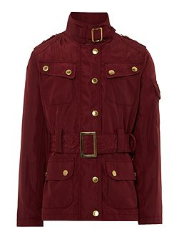 Girls belted jacket with zip and printed lining