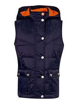 Girls hooded quilted gilet with studded adjusters