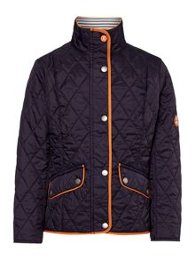 Barbour Girls quilted jacket with stripe print lining