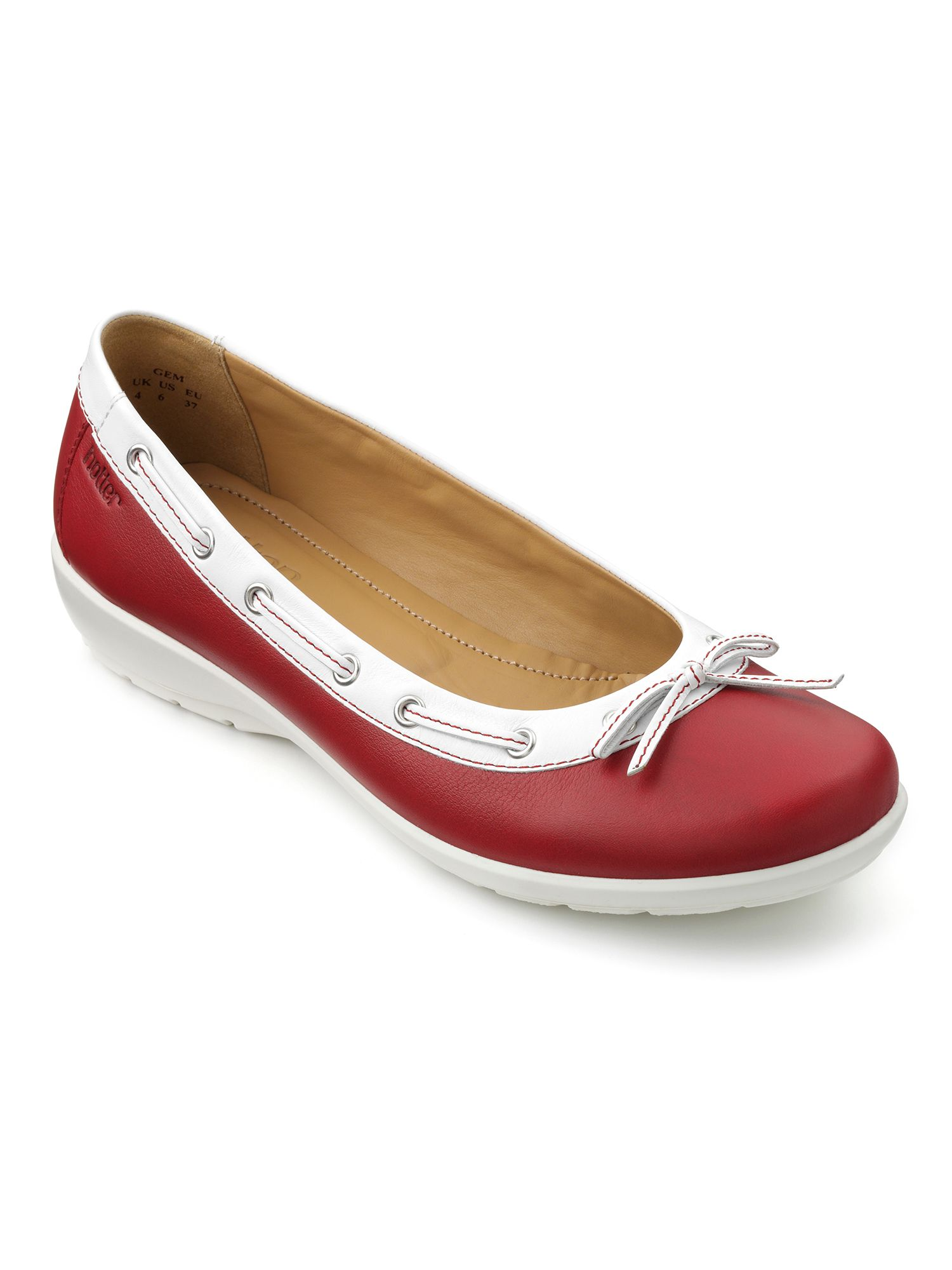 Hotter Gem Ballerina Style Shoes, Red