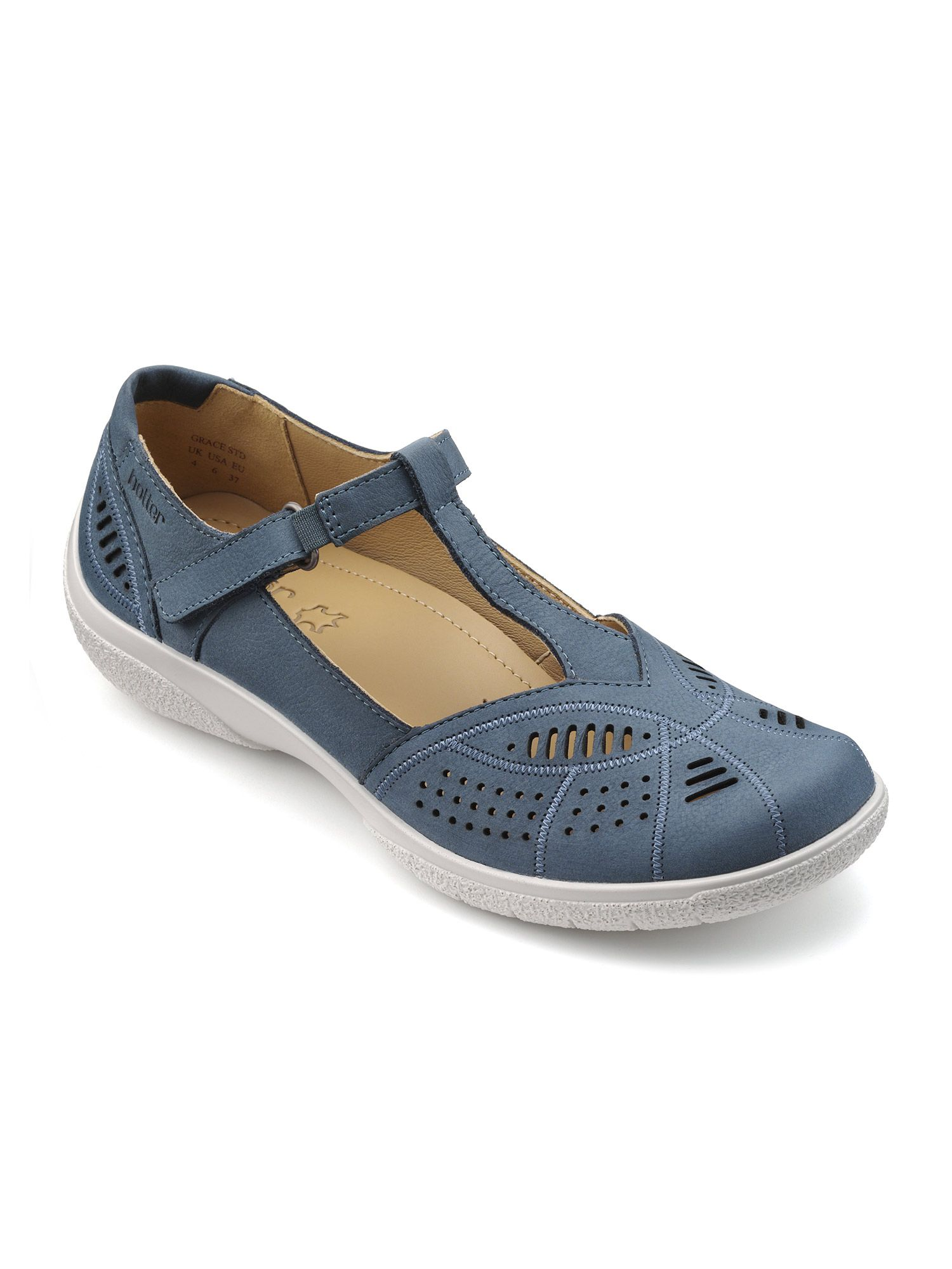 Click to view product details and reviews for Hotter Hotter Grace T Bar Summer Shoe Blue.