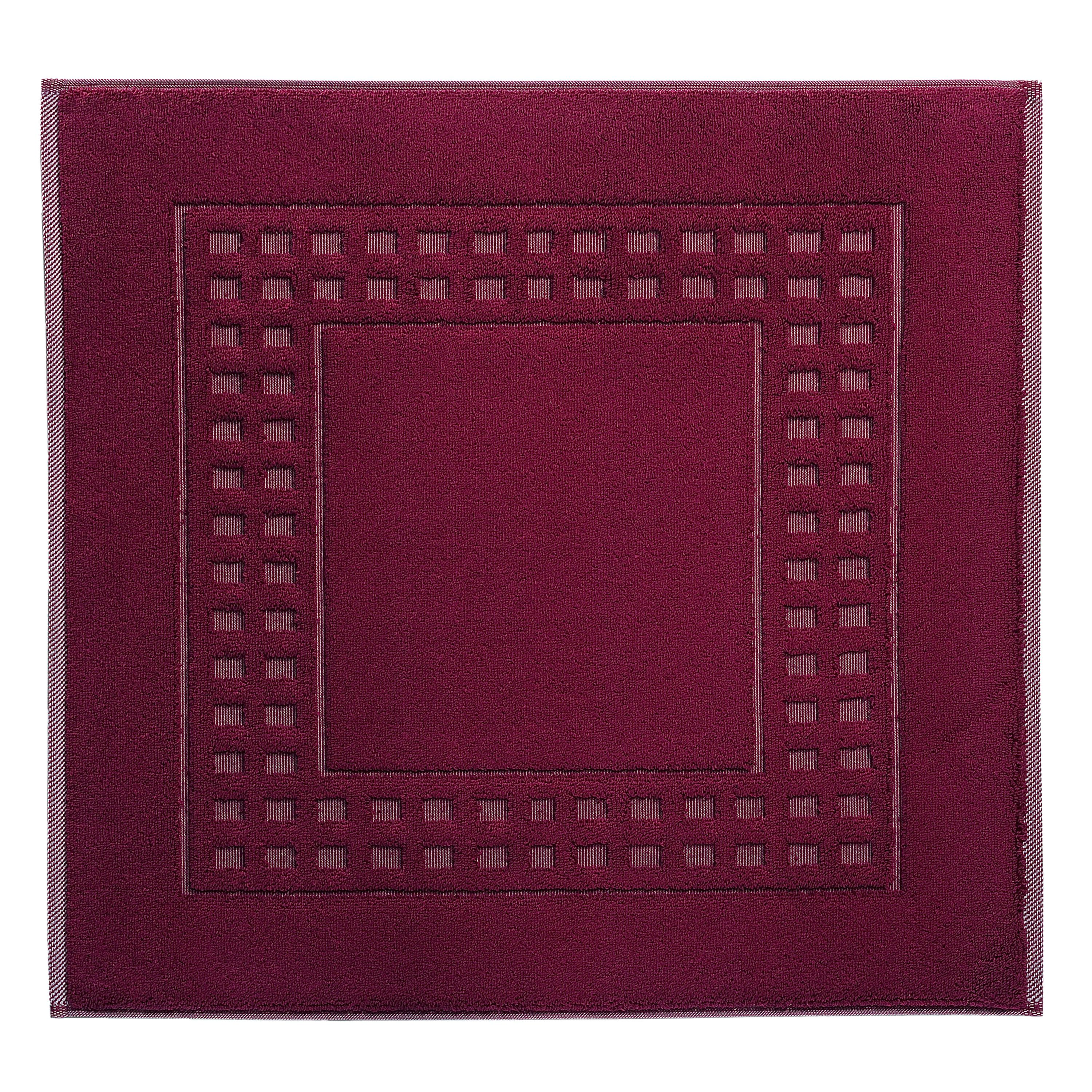 Country  shower mat in cranberry/ivory