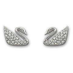 Swan pierced earrings