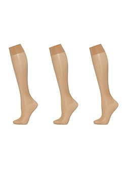 Satin touch 3 pair pack 20 denier knee