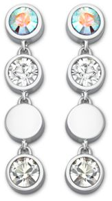 Round solitaire long earrings