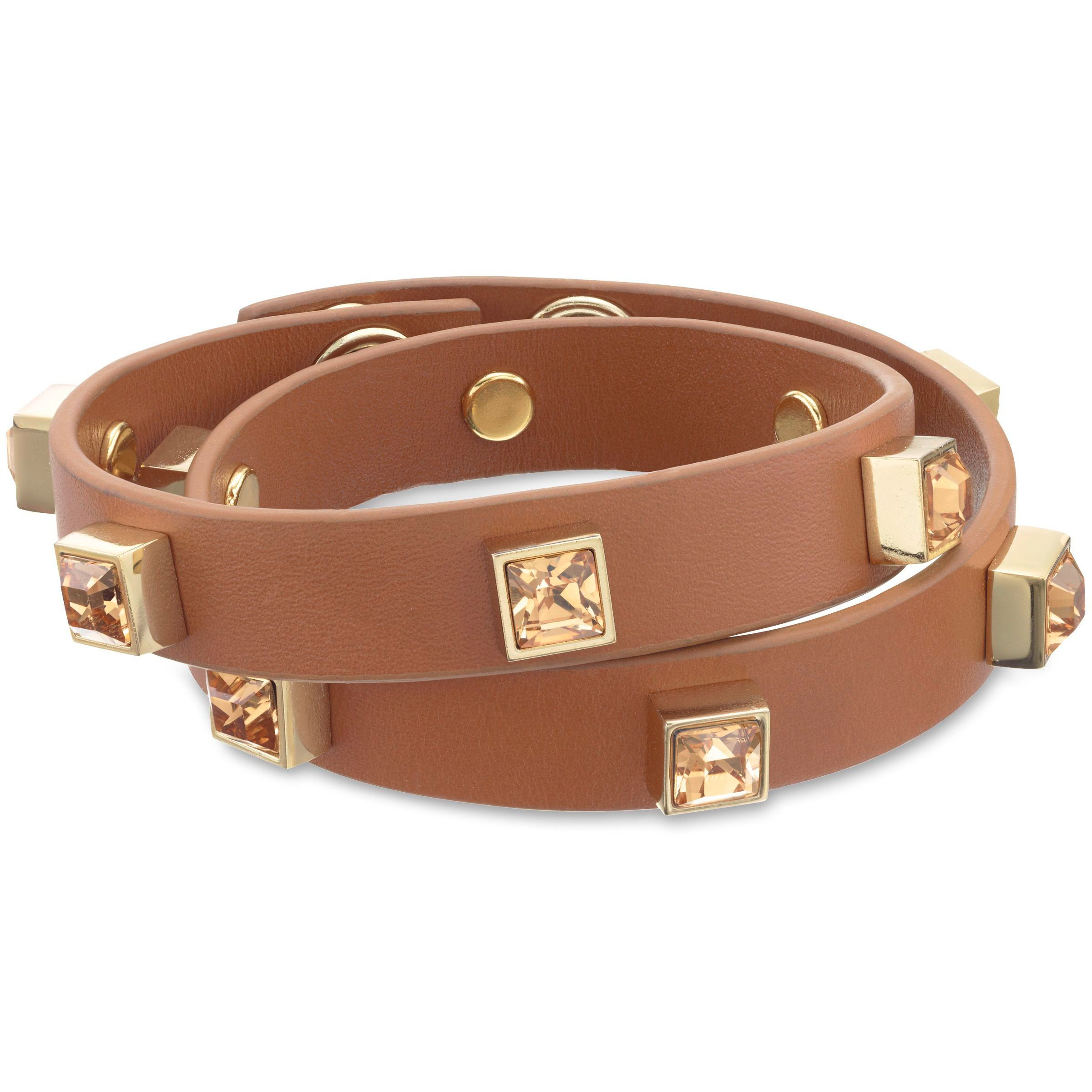 Leather square stone bracelet