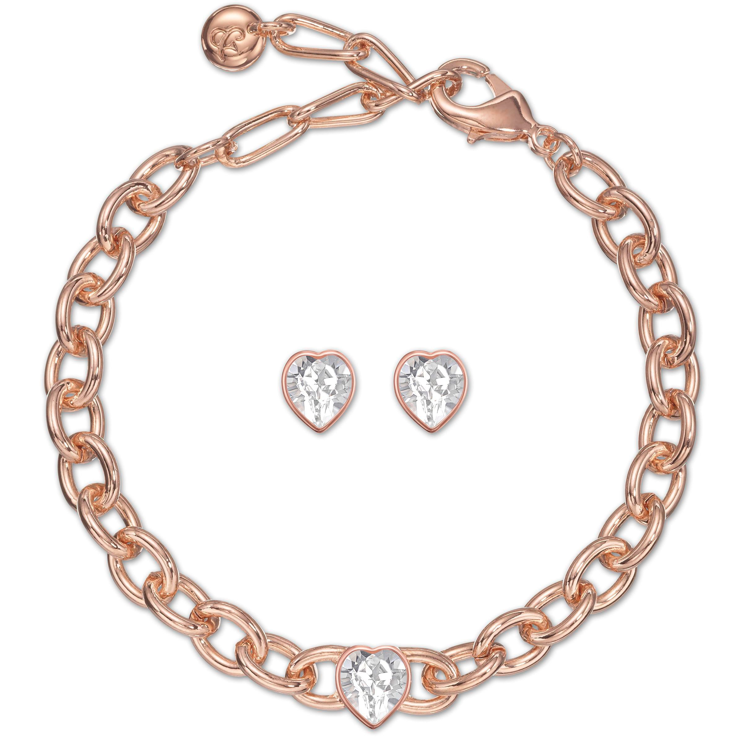 Crystal heart bracelet & earring set