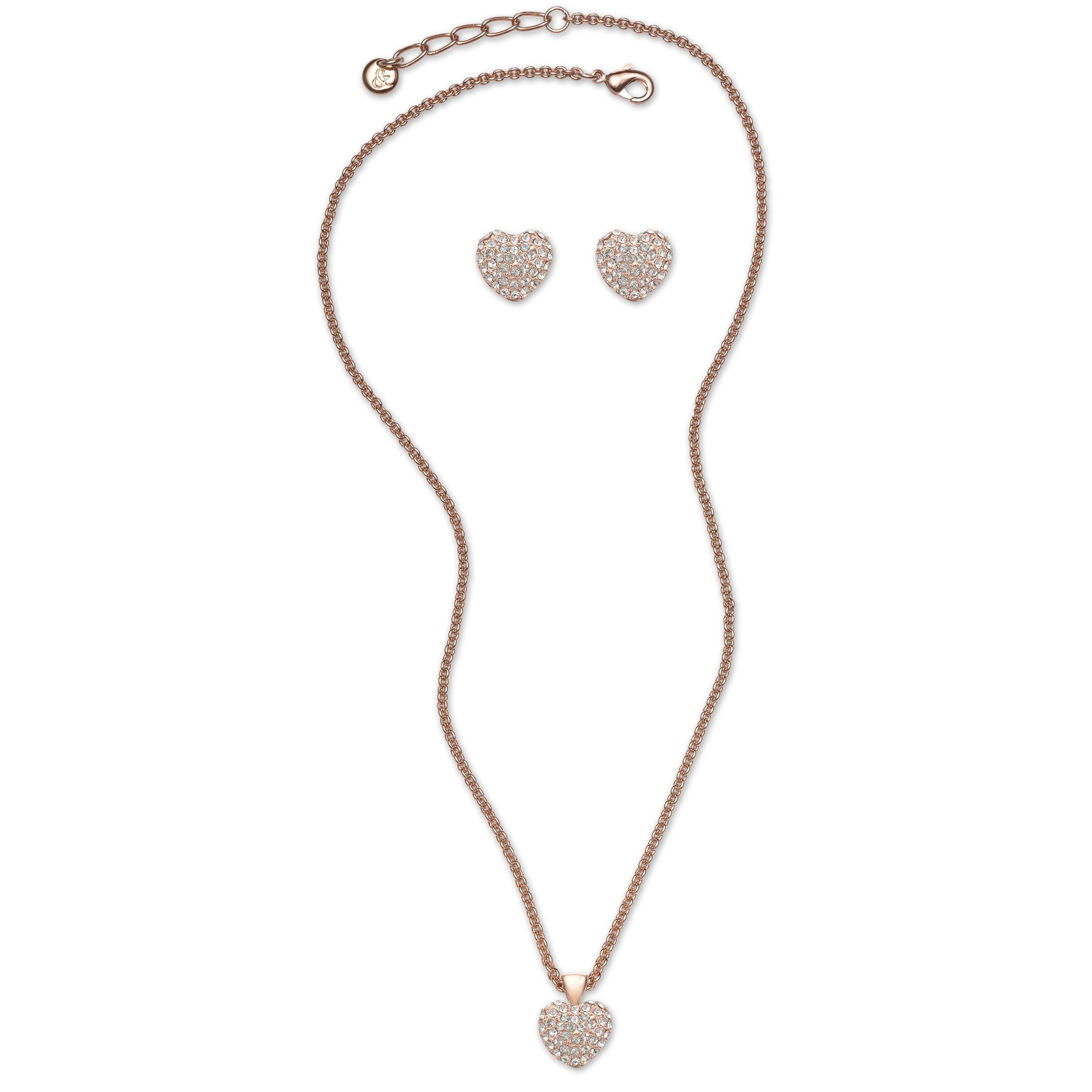 Pave heart necklace & earring set