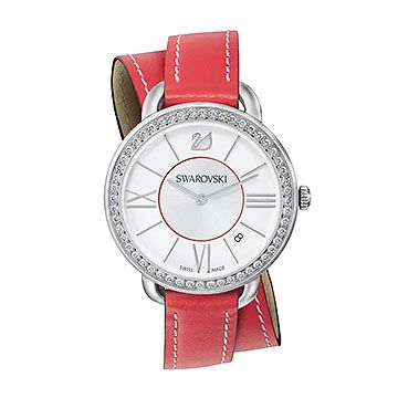 Swarovski Aila day short double tour watch, Red
