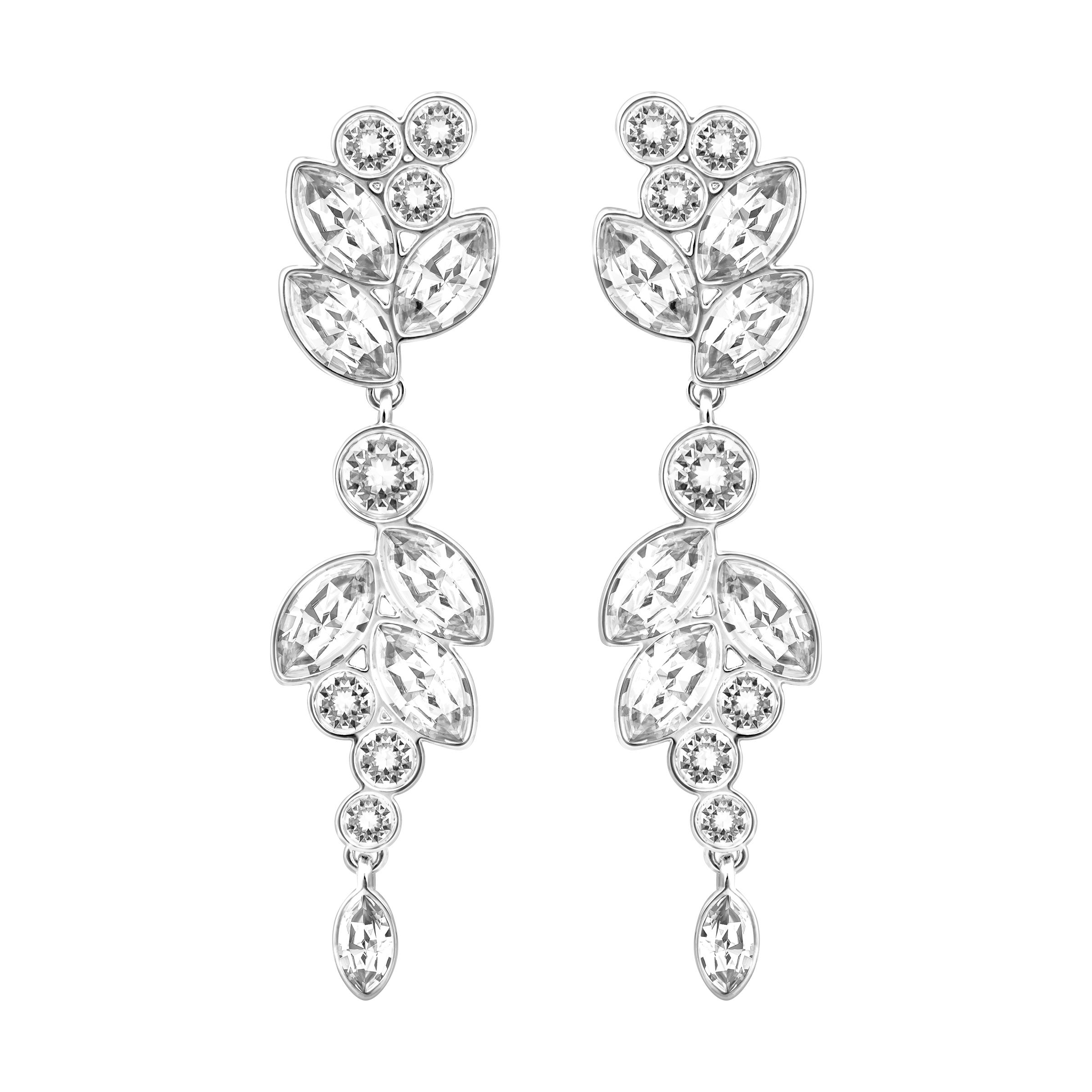 Swarovski Diapason Pierced Earrings, Silver