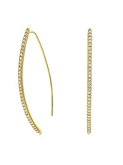 Gold Plated Pave Arc Earrings